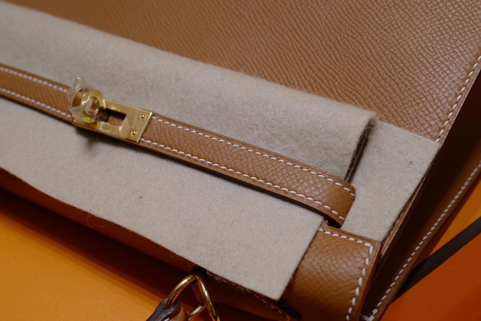 店长推荐:Hermes Kelly25cm 金棕色 Epsom 金扣