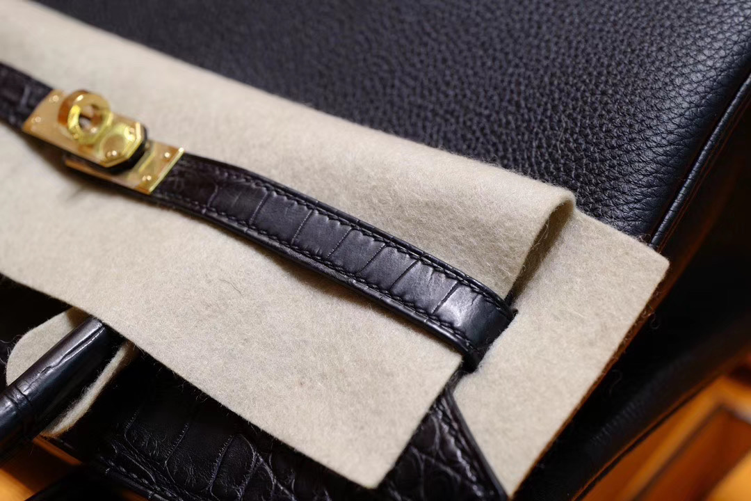 Vip一级品:Hermes Birkin25 黑色鳄鱼拼黑色Togo金扣