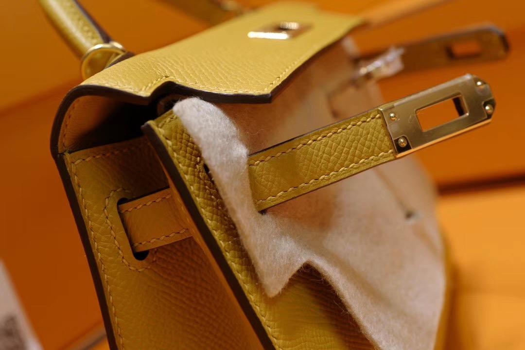 Minikelly 2代 9D Ambre 琥珀黄 GHW 金扣!美美的招财黄色!