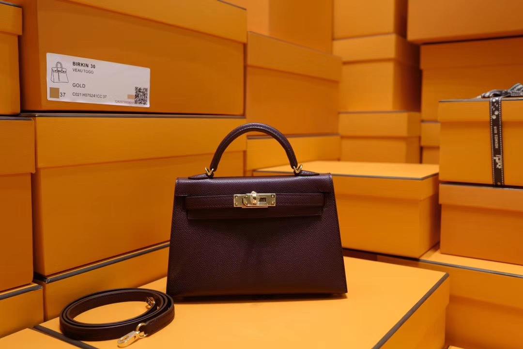 Hermes Mini Kelly 2代 CK57 酒红色 Epsom 金扣