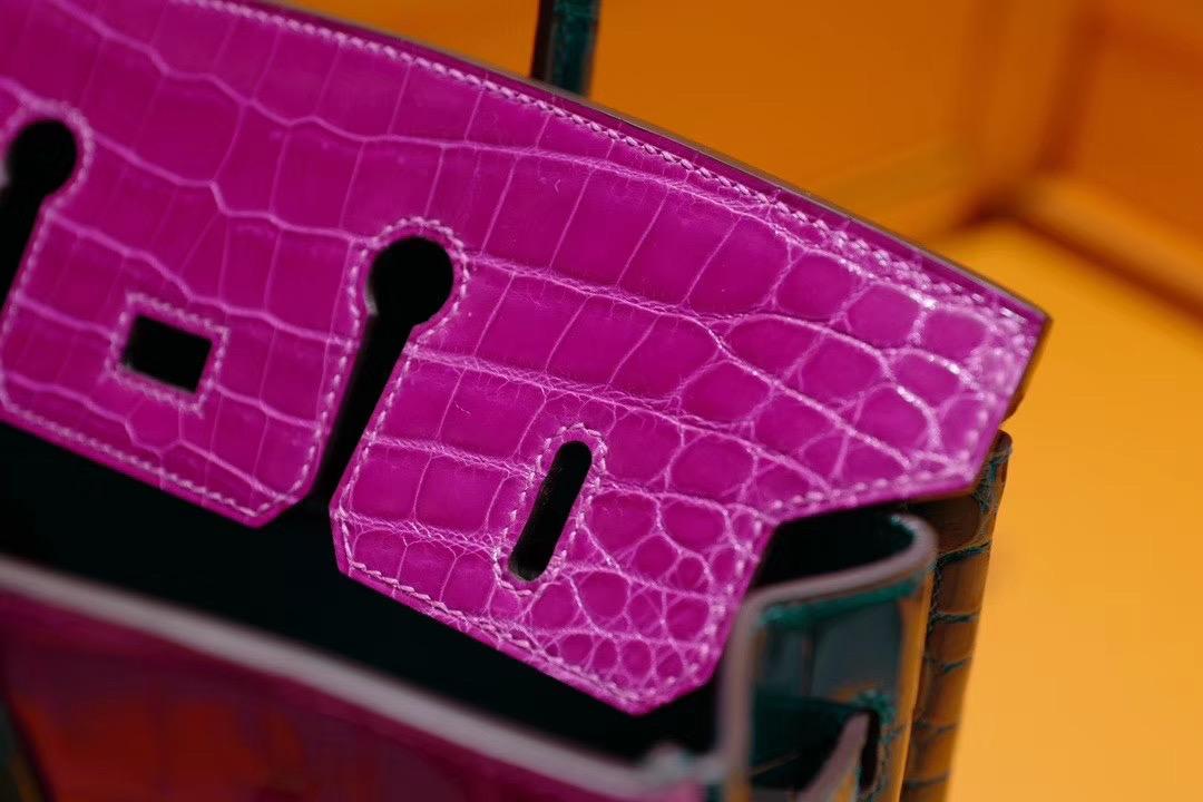 VIP定制: Birkin25cm 天方夜谭紫色拼翡翠绿色 二点亮面鳄鱼皮 金扣