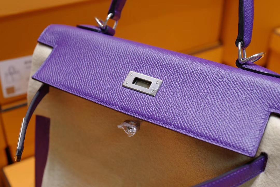 Kelly25cm 9W梦幻紫色 Epsom皮 银扣 梦幻的美 是每位女神的必备神器