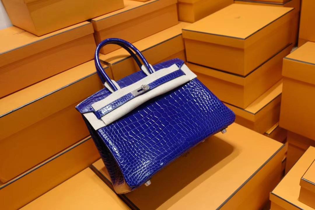 法国退休工匠纯手工: Hermes Birkin 30CM 正品AA级7T电光蓝亮面野生鳄鱼皮 银扣 蓝色系中最美的蓝色