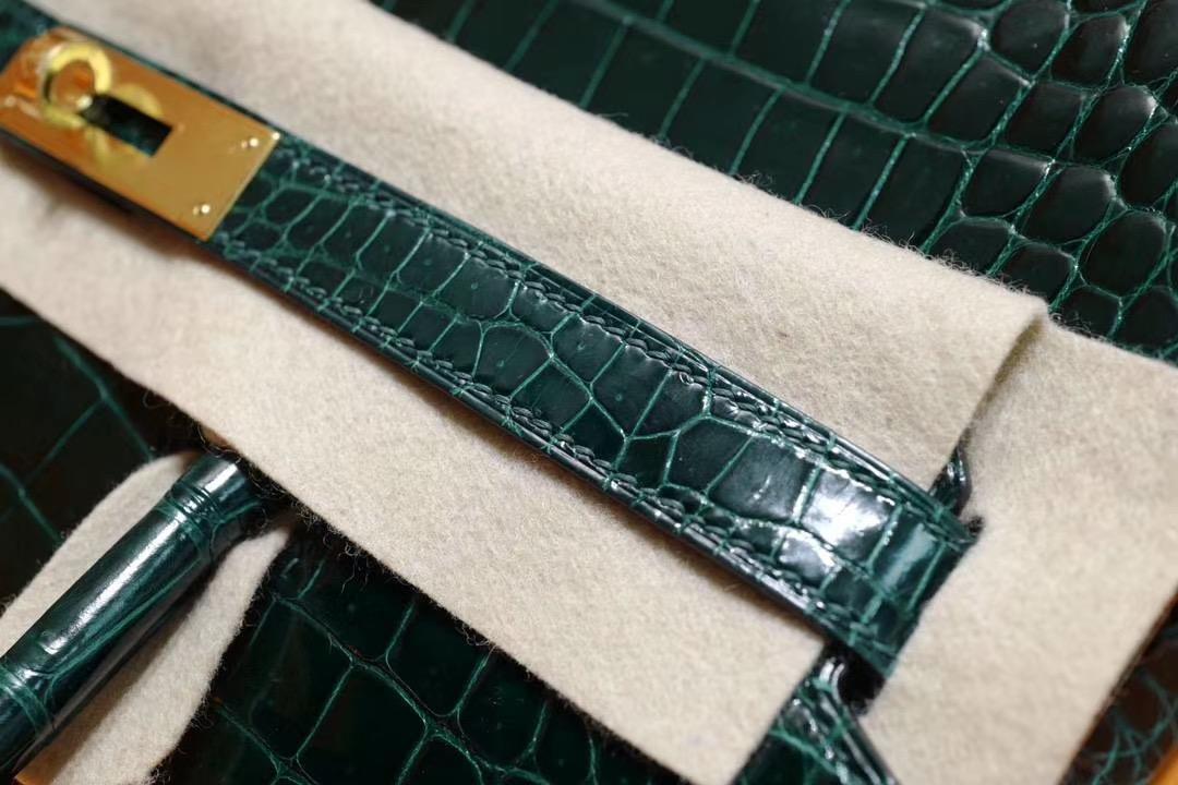 爱马仕 Hermes 顶级珍藏版 HCP 野生倒V湾鳄鱼皮 纯手缝 Birkin30CM 6V 翡翠绿
